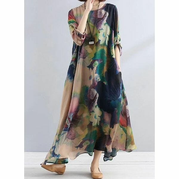 Casual Floral Tunic Round Neckline Shift Dress (30345548205)