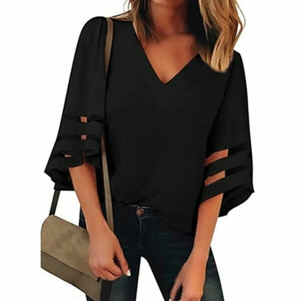 Solid Casual V-Neckline 3/4 Sleeves Blouses (30355563764)