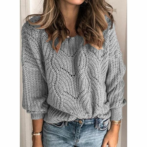 Round Neckline Solid Casual Loose Regular Shift Sweaters (1675615558)