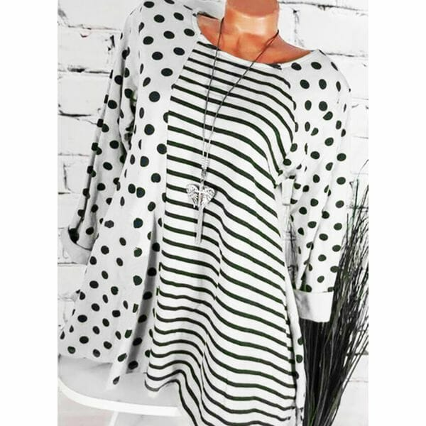 Geometric Casual Round Neckline 3/4 Sleeves Blouses (1645593446)