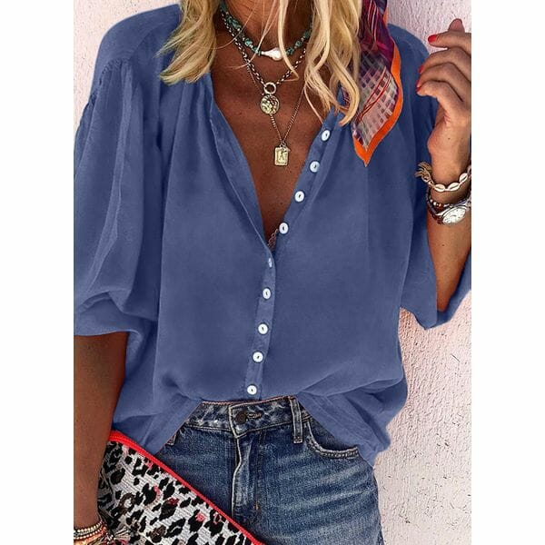 Solid Casual V-Neckline Long Sleeve Blouses (1645458095)