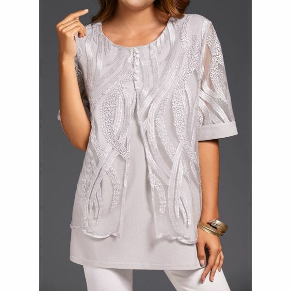 Solid Casual Round Neckline 3/4 Sleeves Blouses (30355480491)