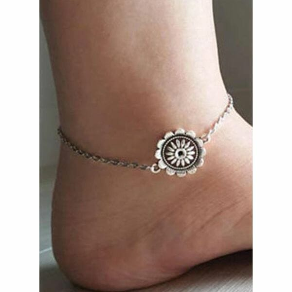 Casual No Stone Floral Anklet (1905609878)