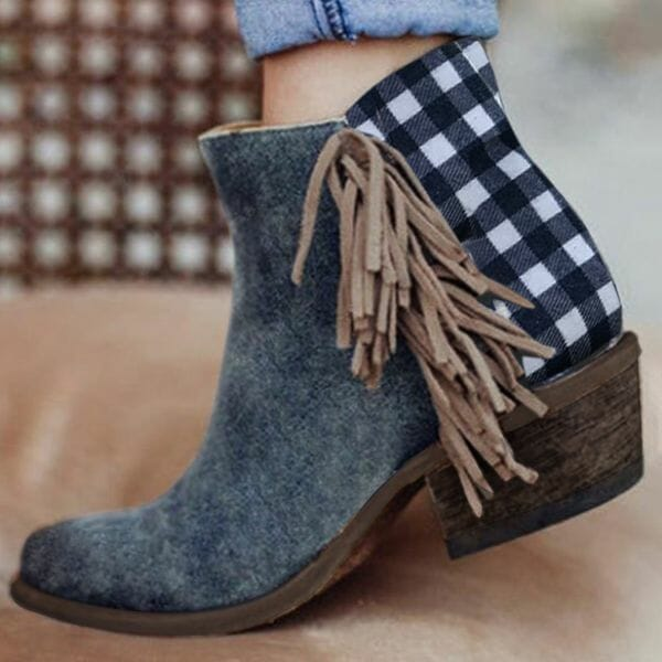 Women's Tassel Ankle Boots Closed Toe Chunky Heel Boots (1625623789)