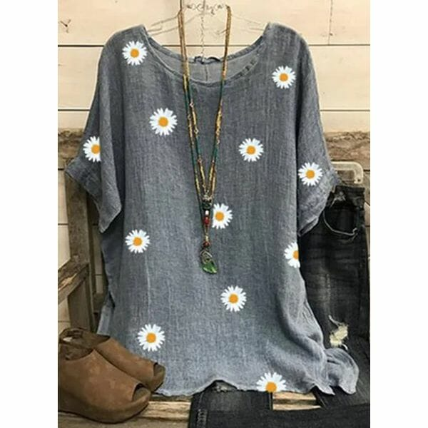 Floral Casual Round Neckline Short Sleeve Blouses (1645583324)