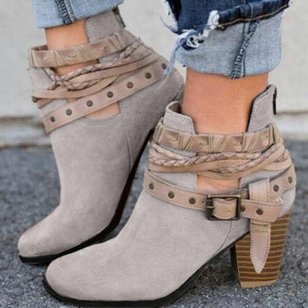 Women's Buckle Ankle Boots Closed Toe Pointed Toe Fabric Chunky Heel Boots (1625624107)