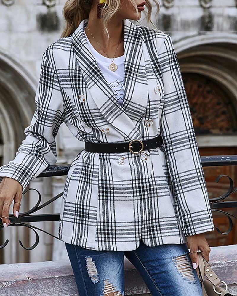 Plaid Print Double Breasted Blazer Coat