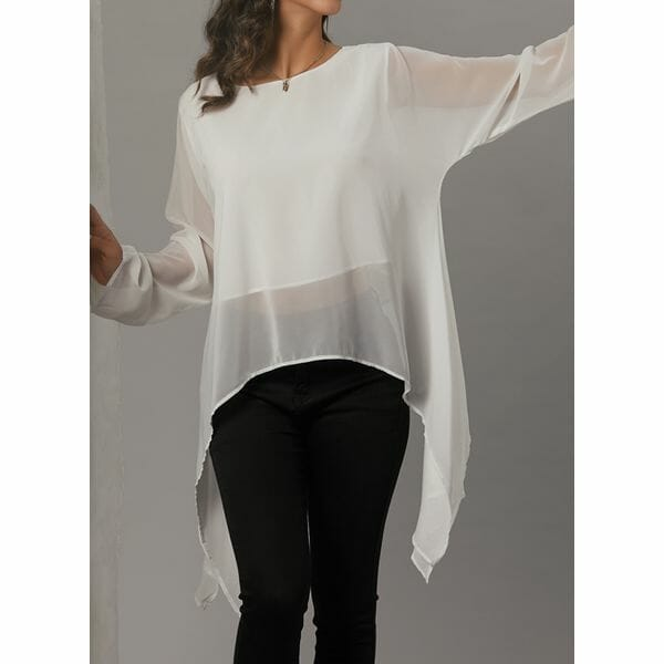 Plus Size Solid Casual Round Neckline Long Sleeve Blouses (1645391542)