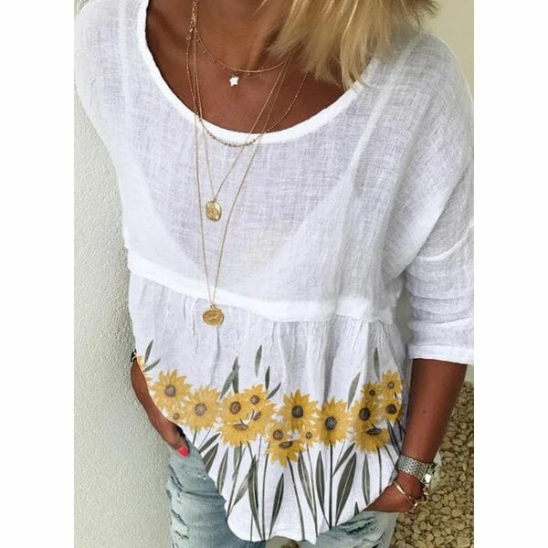 Floral Casual Round Neckline 3/4 Sleeves Blouses (1645598824)