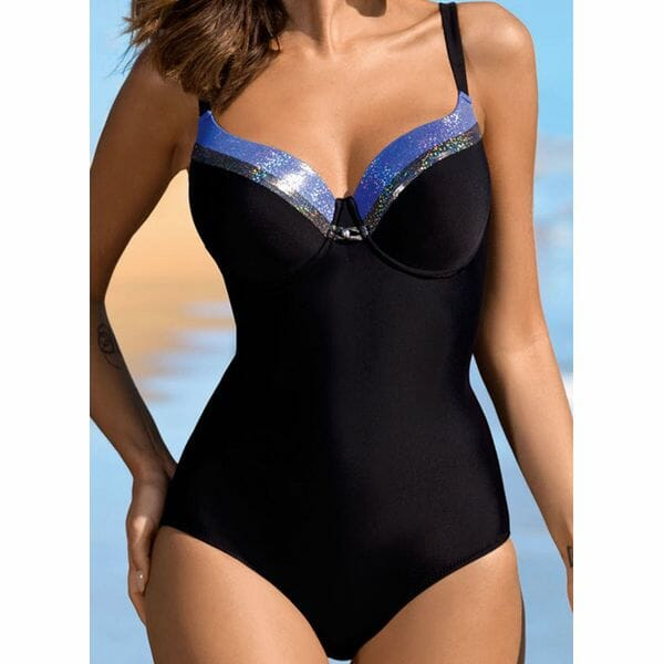 Polyester Color Block One-piece Swimwear (30015578799)