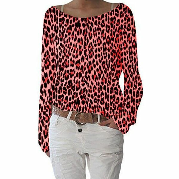 Leopard Round Neck Long Sleeve Casual T-shirts (1685616203)
