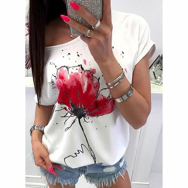 Floral Round Neck Short Sleeve Casual T-shirts (1685596304)