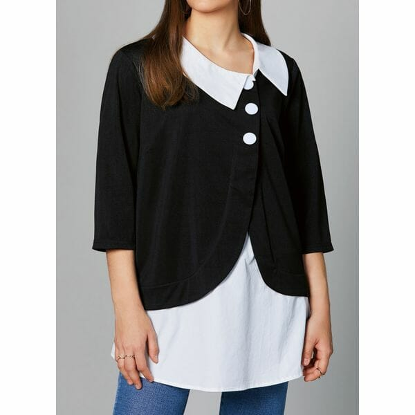 Color Block Casual Round Neckline 3/4 Sleeves Blouses (30355480481)