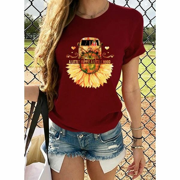 Floral Round Neck Short Sleeve Casual T-shirts (1685593577)