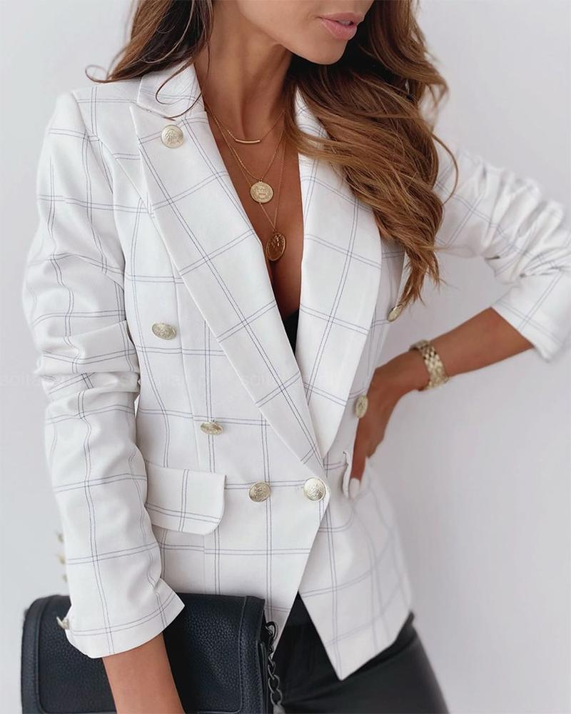Plaid Double-breasted Lapel Blazer