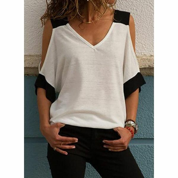 Color Block V-Neckline 3/4 Sleeves Casual T-shirts (1685542391)