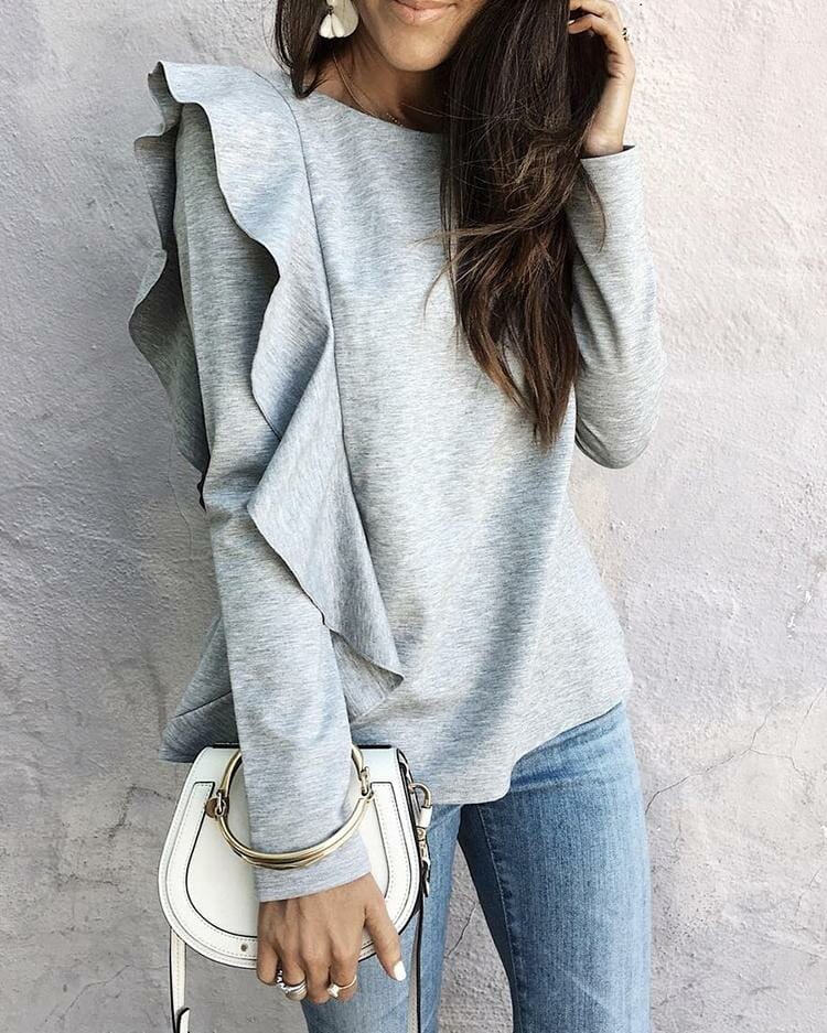 Stylish Ruffled Long Sleeve Casual Blouse