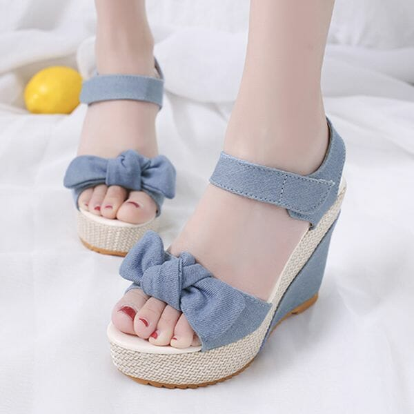 Denim Shoes With Bowknot Velcro (30485613845)