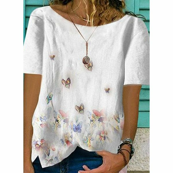 Floral Round Neck Short Sleeve Casual T-shirts (1685547219)