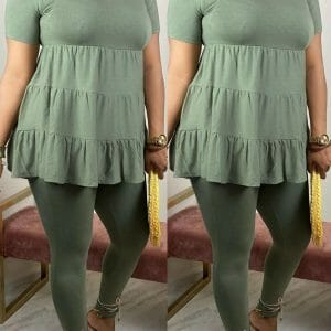 Fashion Casual Loose Top Army Green Two Piece Set