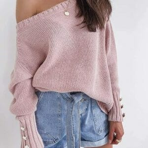 Solid Knit Button Design Long Sleeve Sweater