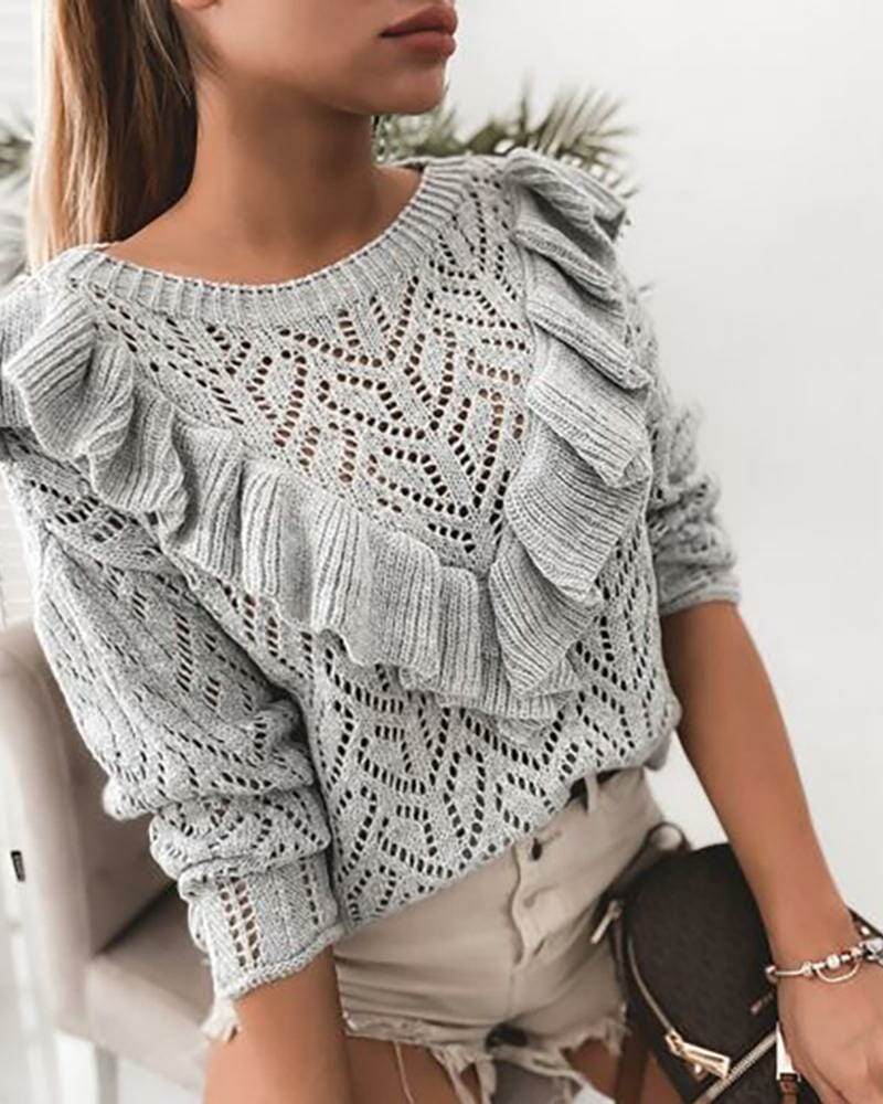 Hollow Out Ruffles Knit Casual Sweater