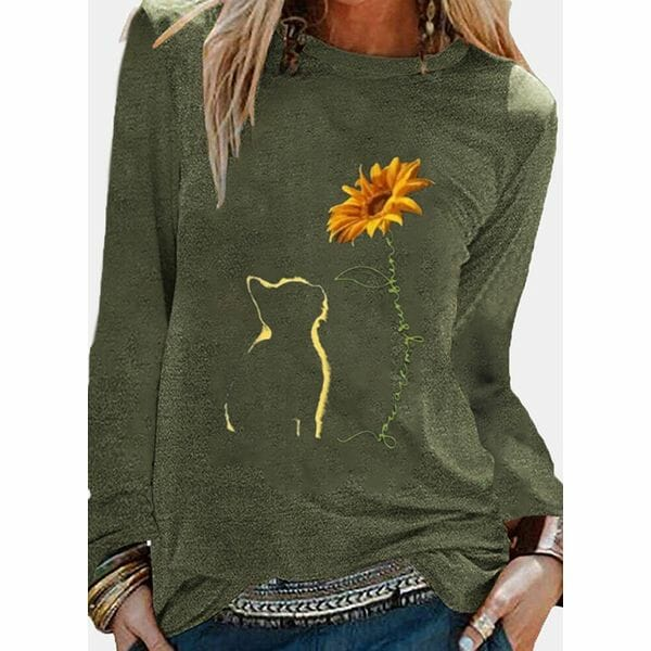 Floral Round Neck Long Sleeve Casual T-shirts (1685611332)