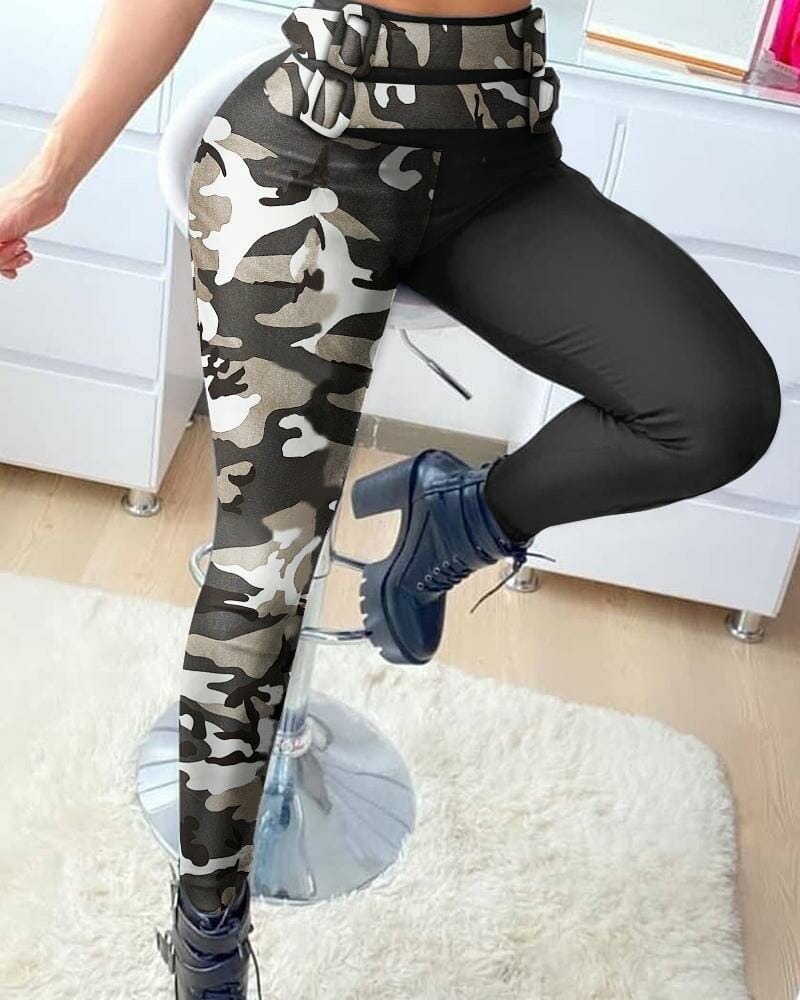 Camouflage Colorblock High Waist Fitted Pants