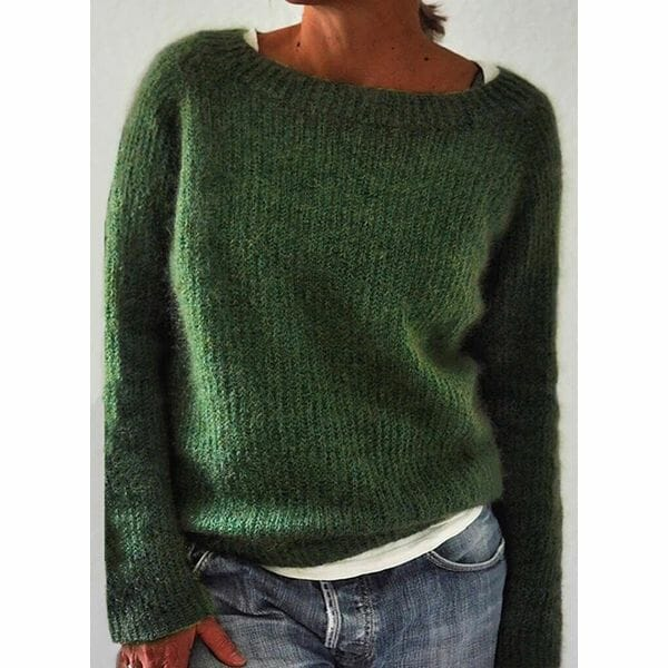 Round Neckline Solid Casual Loose Regular Shift Sweaters (1675616686)