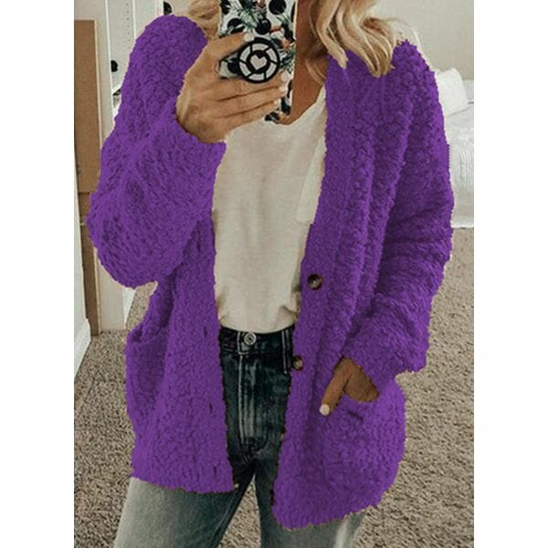 Long Sleeve Hooded Buttons Pockets Sweaters Coats (1715601629)