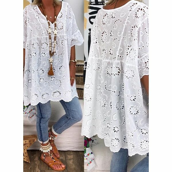 Plus Size Solid Casual V-Neckline 3/4 Sleeves Blouses (1645397461)