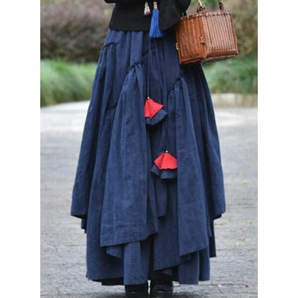 Solid Maxi Casual Sashes Skirts (1725623263)