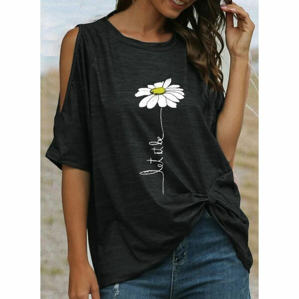 Floral Round Neck Short Sleeve T-shirts (1685603198)