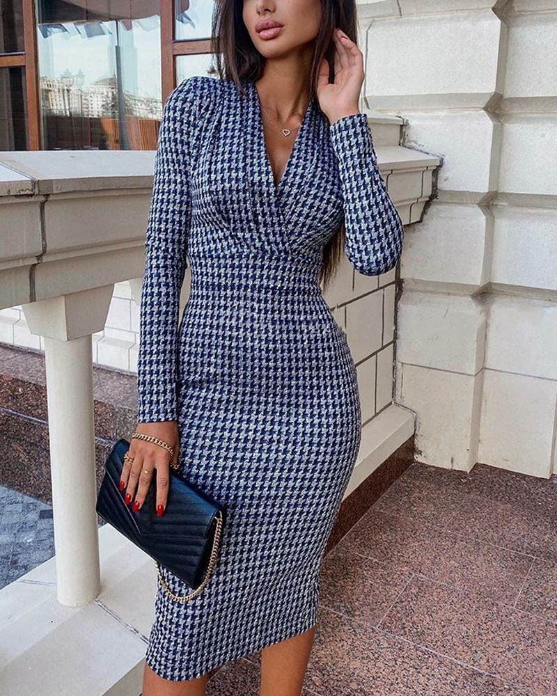 Sexy Houndstooth Long Sleeve Dress