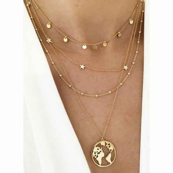 Casual Star Round No Stone Pendant Necklaces (1845626403)