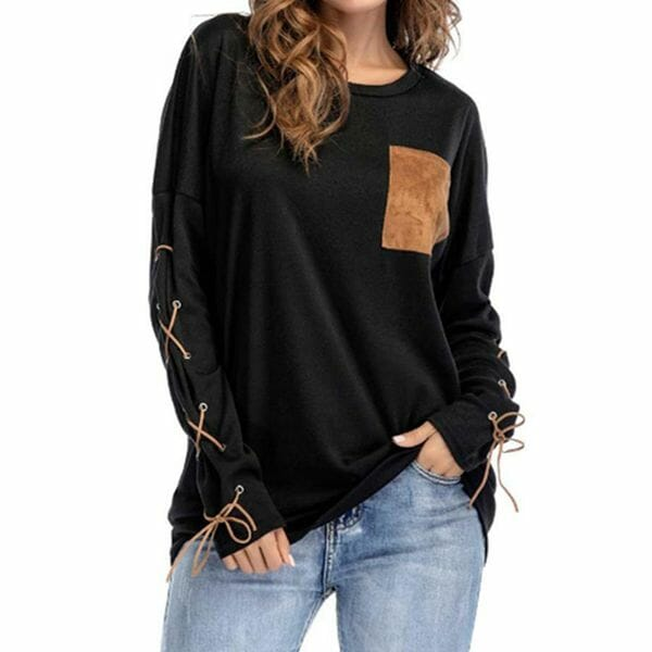 Color Block Round Neck Long Sleeve Casual T-shirts (1685629215)
