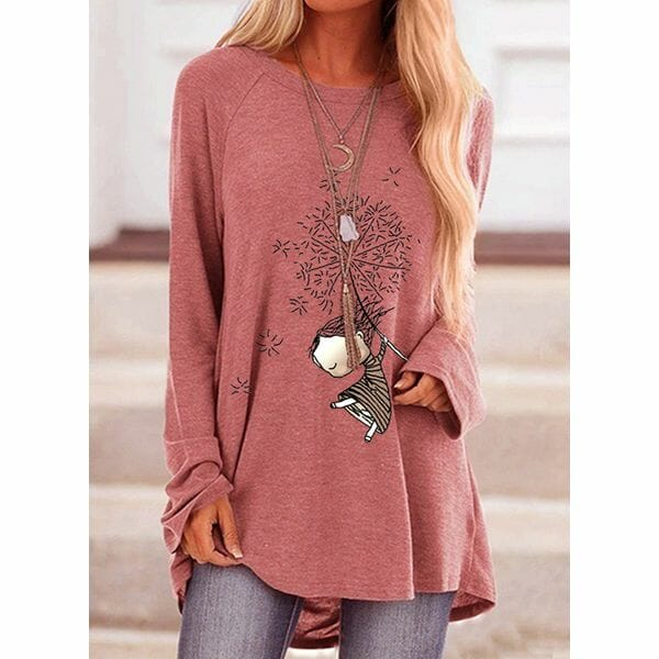 Character Round Neck Long Sleeve Casual T-shirts (1685611298)