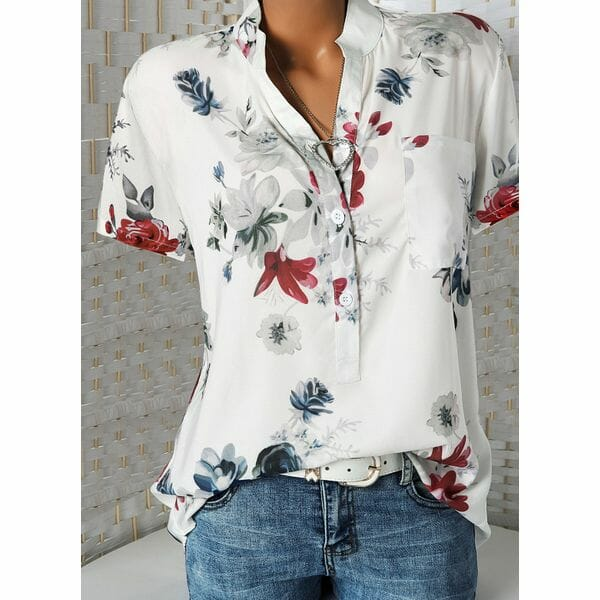 Floral Casual Stand Collar Short Sleeve Blouses (01645381360)
