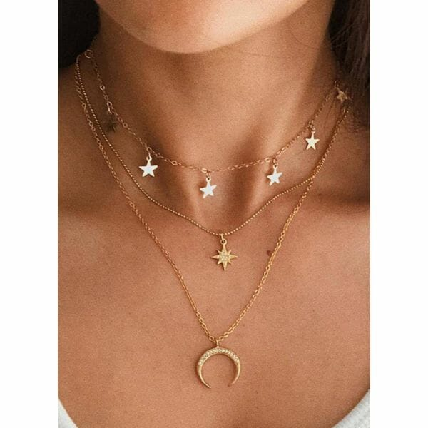 Casual Moon Star Crystal Pendant Necklaces (1845615394)