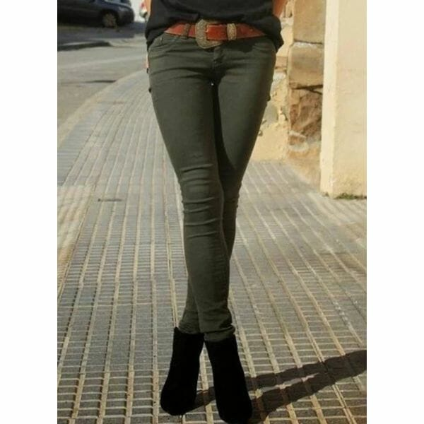 Casual Skinny Mid Waist Polyester Pants (1745641947)