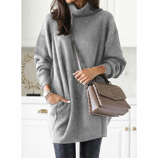 High Neckline Solid Casual Loose Regular Pockets Sweaters (1675633147)