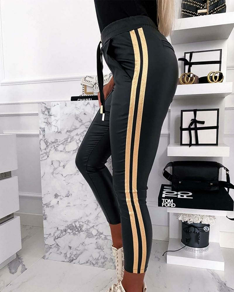 Golden Striped Drawstring Skinny Pants