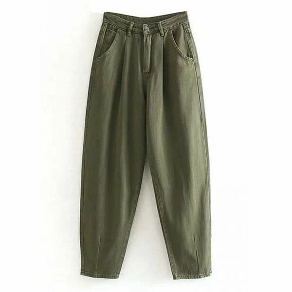 Casual Loose Buttons Pockets Mid Waist Polyester Pants (1745642219)