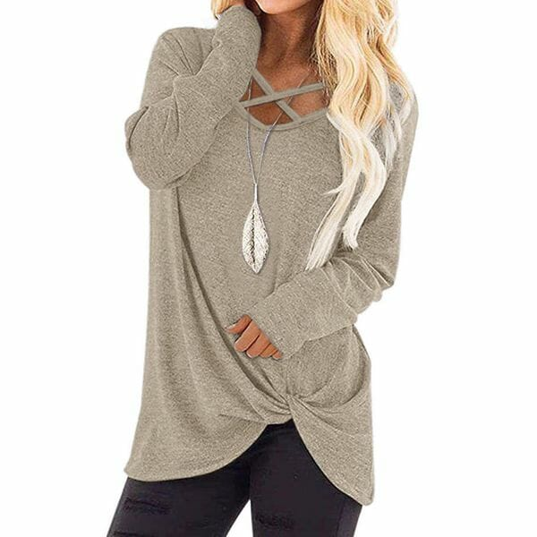 Solid Casual V-Neckline Long Sleeve Blouses (1645641266)
