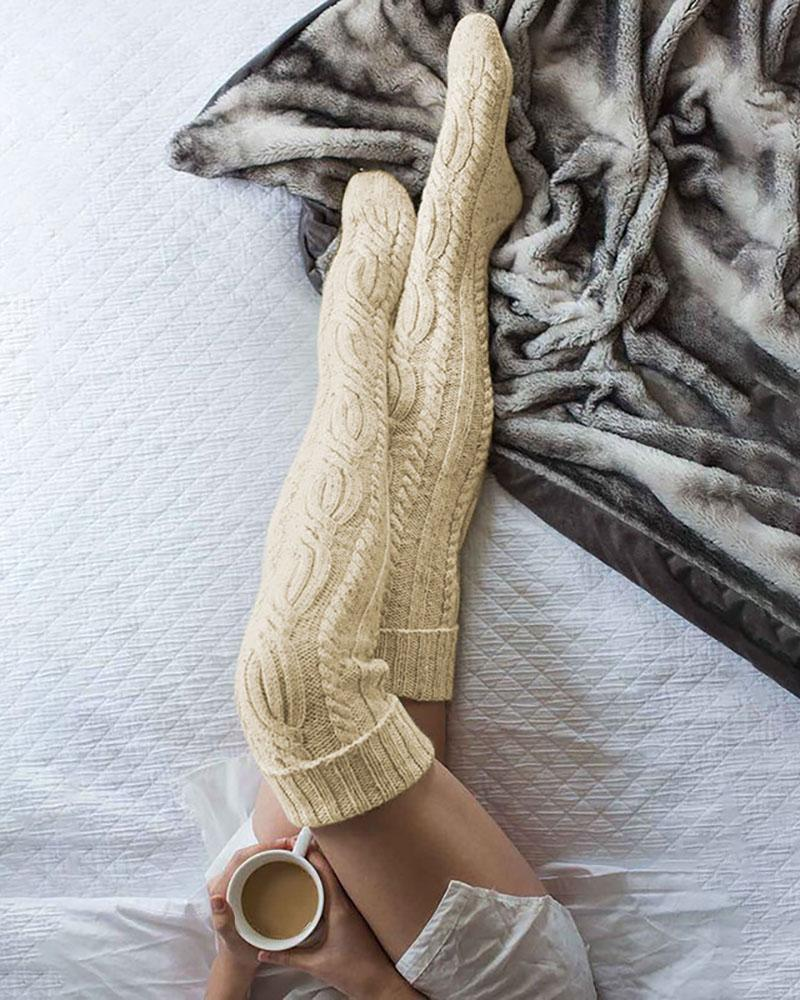 Cable Knit Plain Stockings