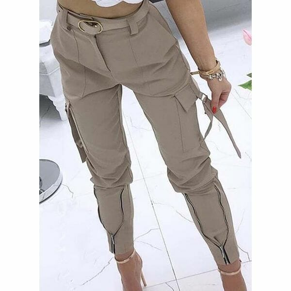 Casual Skinny Pockets High Waist Polyester Pants (1745642009)