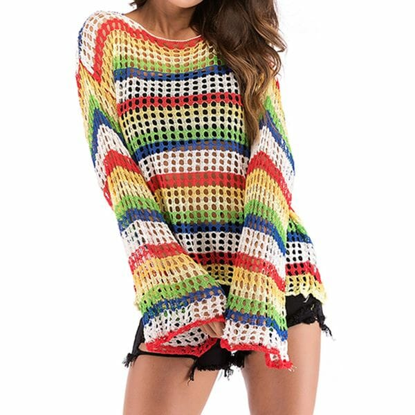 Round Neckline Color Block Casual Loose Regular Hollow Out Sweaters (1675628662)