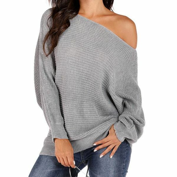Round Neckline Solid Casual Loose Regular Shift Sweaters (1675639515)