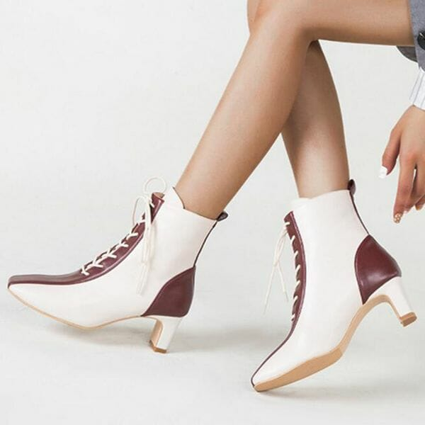Women's Lace-up Mid-Calf Boots Closed Toe Square Toe Chunky Heel Boots (1625632809)