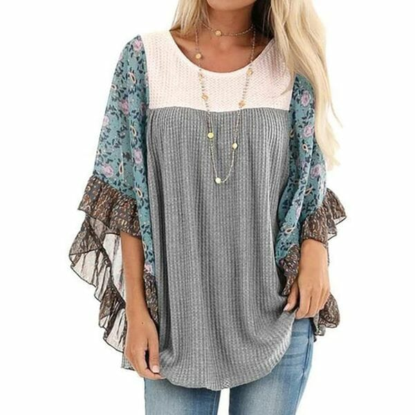 Color Block Casual Round Neckline 3/4 Sleeves Blouses (30355549957)